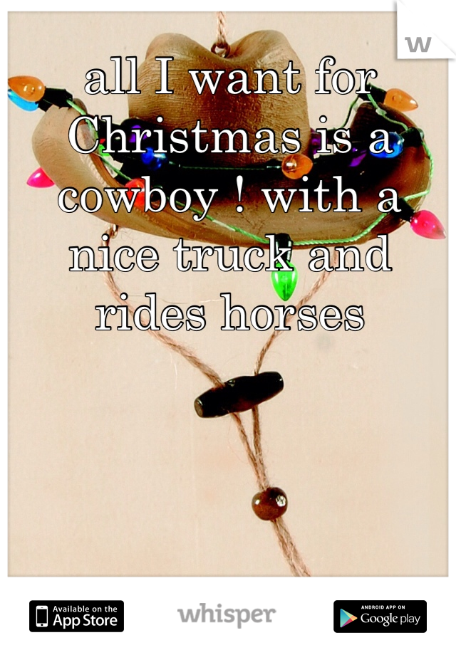 all I want for Christmas is a cowboy ! with a nice truck and rides horses