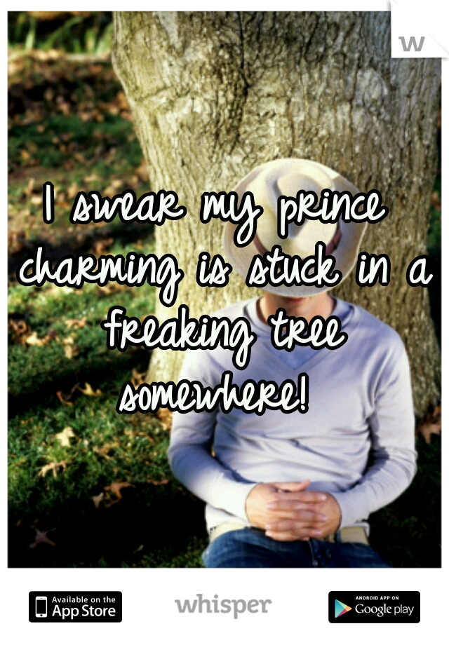 I swear my prince charming is stuck in a freaking tree somewhere!