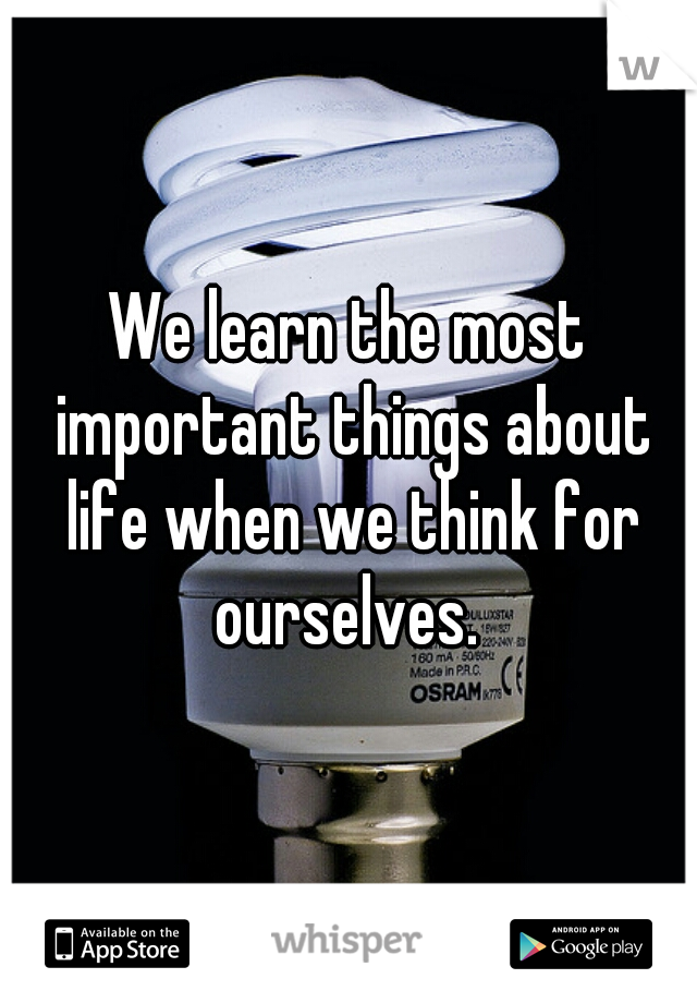 We learn the most important things about life when we think for ourselves.