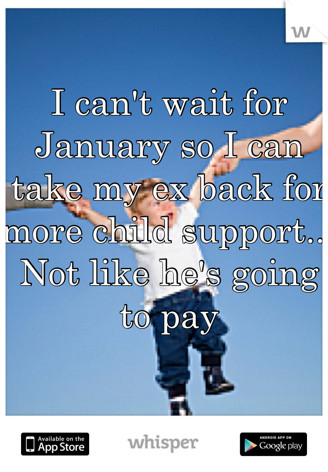 I can't wait for January so I can take my ex back for more child support... Not like he's going to pay