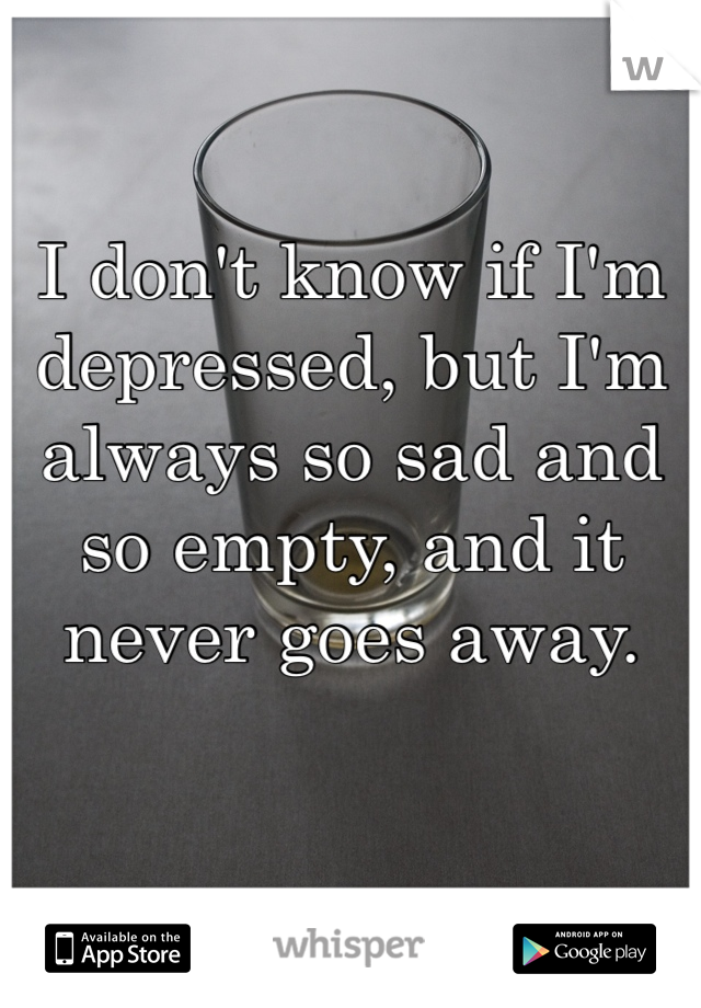 I don't know if I'm depressed, but I'm always so sad and so empty, and it never goes away.