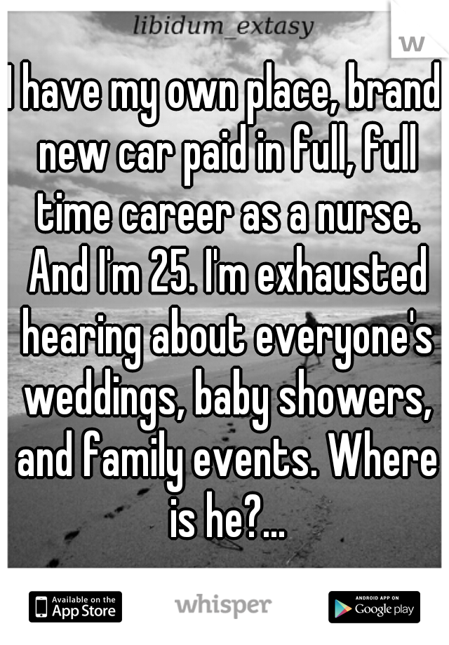 I have my own place, brand new car paid in full, full time career as a nurse. And I'm 25. I'm exhausted hearing about everyone's weddings, baby showers, and family events. Where is he?...