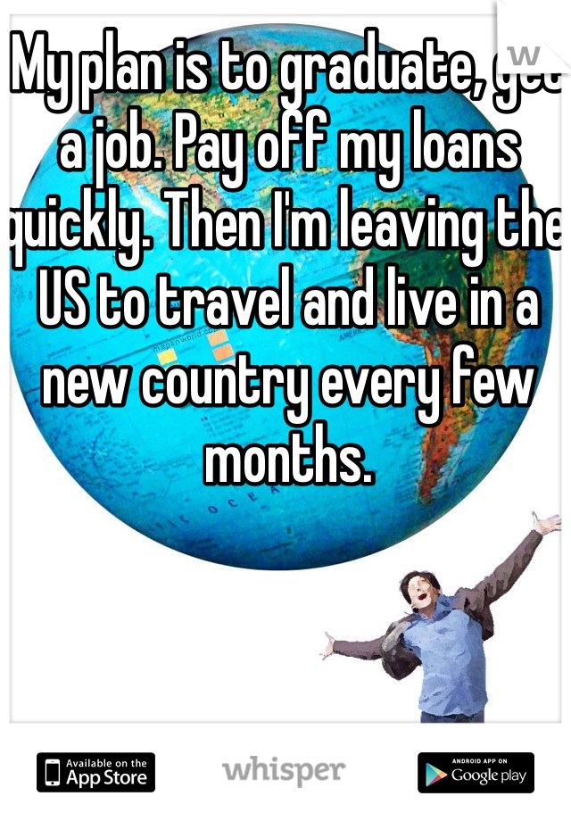 My plan is to graduate, get a job. Pay off my loans quickly. Then I'm leaving the US to travel and live in a new country every few months.