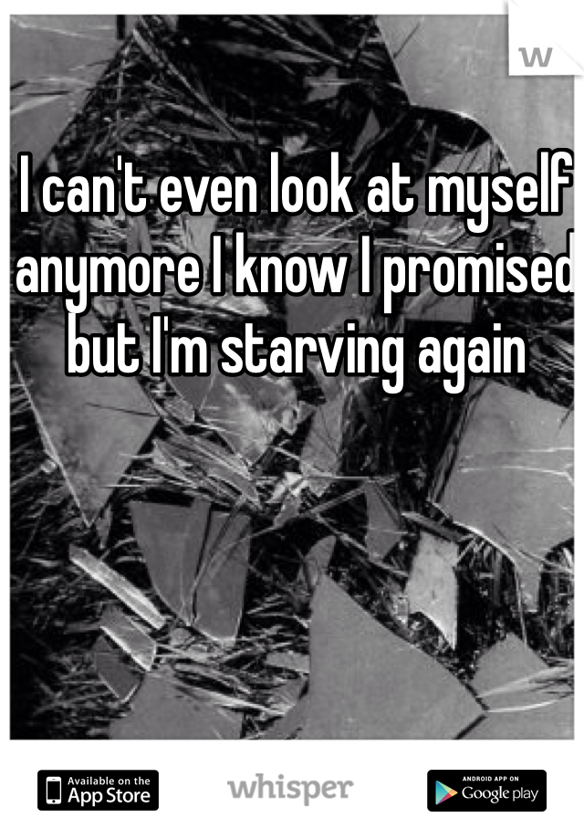 I can't even look at myself anymore I know I promised but I'm starving again