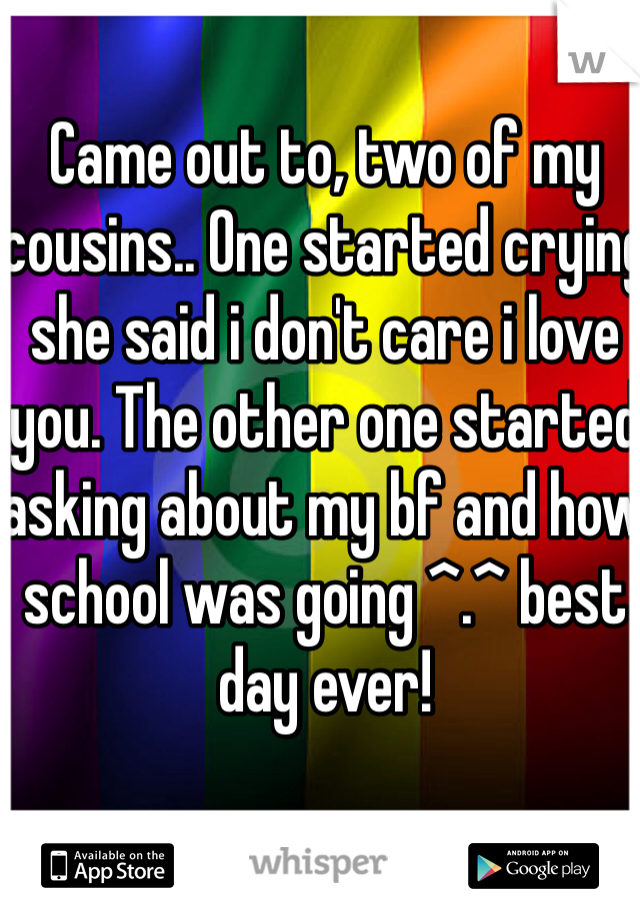 Came out to, two of my cousins.. One started crying she said i don't care i love you. The other one started asking about my bf and how school was going ^.^ best day ever!