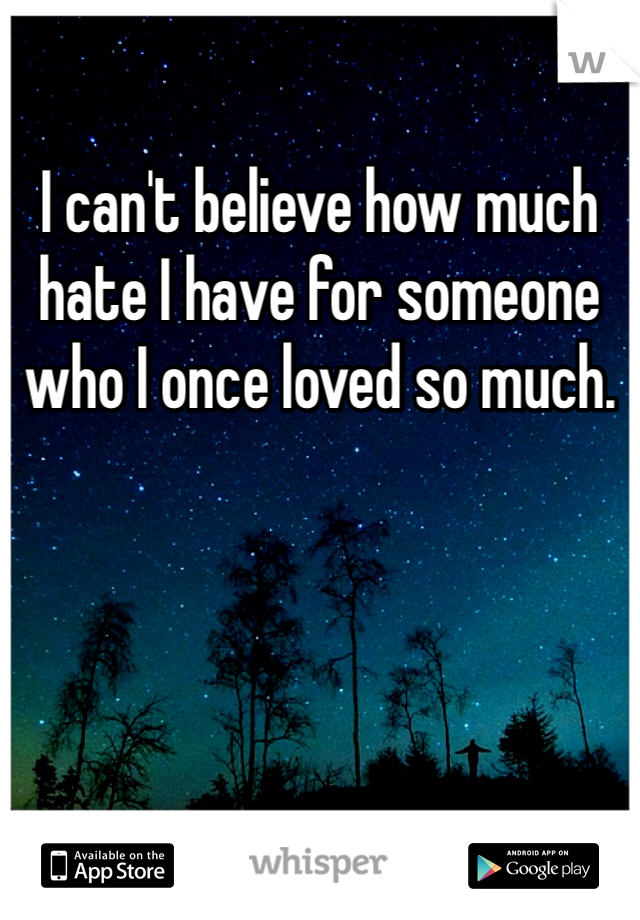 I can't believe how much hate I have for someone who I once loved so much.