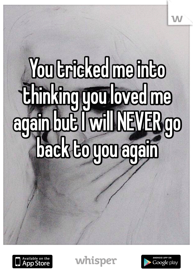 You tricked me into thinking you loved me again but I will NEVER go back to you again