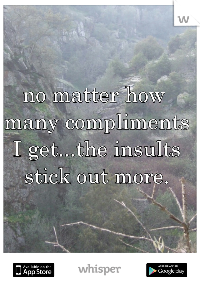 no matter how many compliments I get...the insults stick out more.