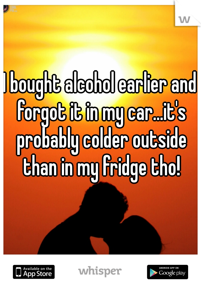 I bought alcohol earlier and forgot it in my car...it's probably colder outside than in my fridge tho!