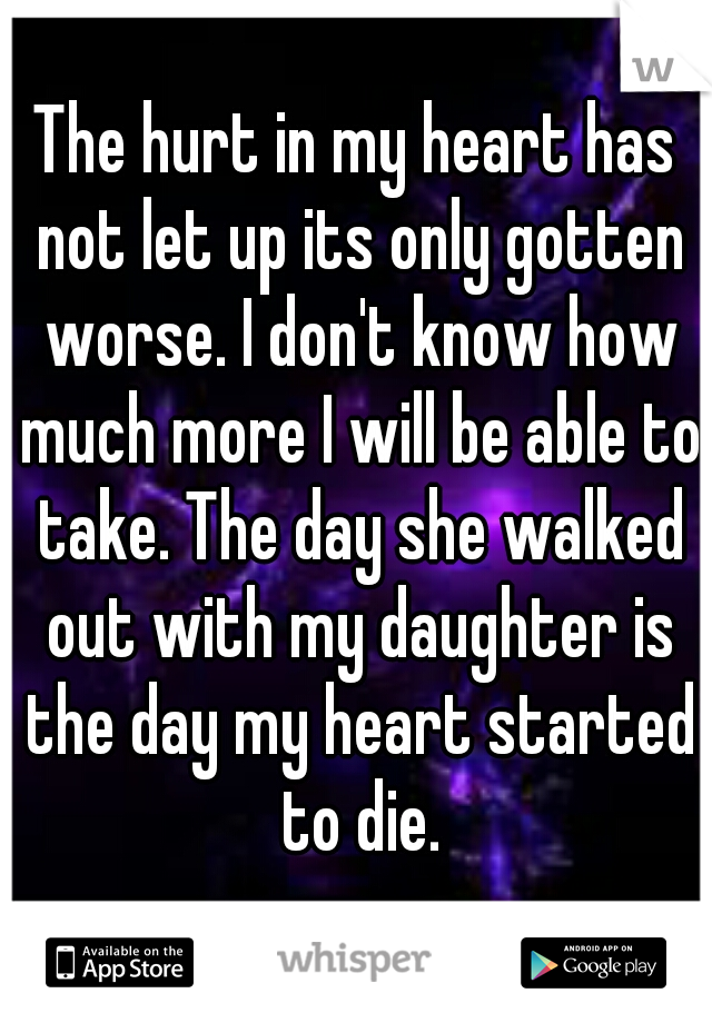The hurt in my heart has not let up its only gotten worse. I don't know how much more I will be able to take. The day she walked out with my daughter is the day my heart started to die.