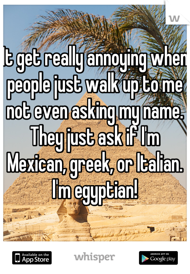 It get really annoying when people just walk up to me not even asking my name. They just ask if I'm Mexican, greek, or Italian. I'm egyptian!
