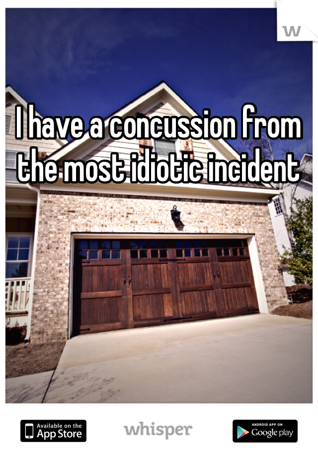 I have a concussion from the most idiotic incident