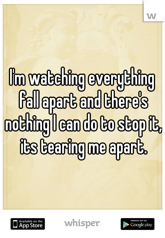 I'm watching everything fall apart and there's nothing I can do to stop it, its tearing me apart.
