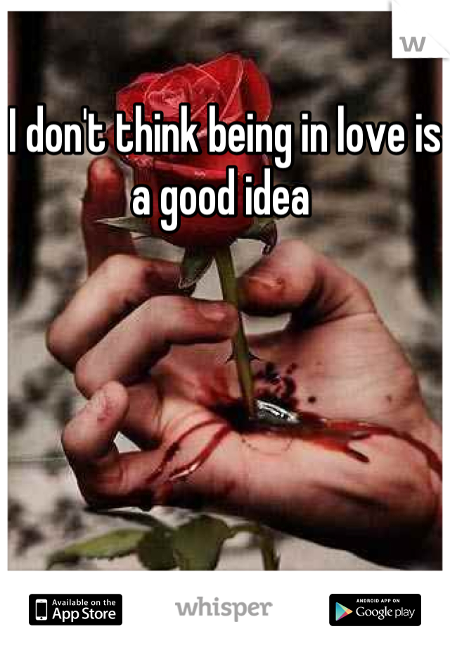 I don't think being in love is a good idea