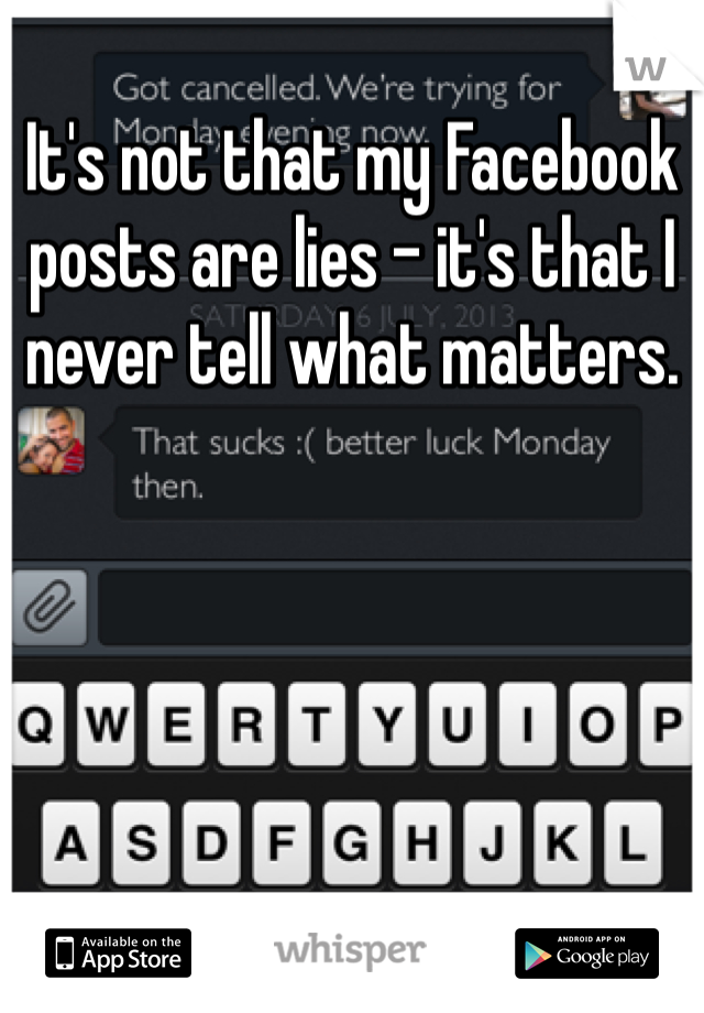 It's not that my Facebook posts are lies - it's that I never tell what matters.
