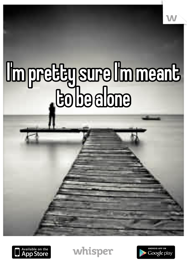 I'm pretty sure I'm meant to be alone