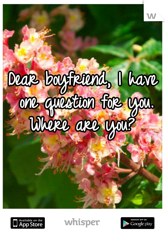 Dear boyfriend, I have one question for you. Where are you?