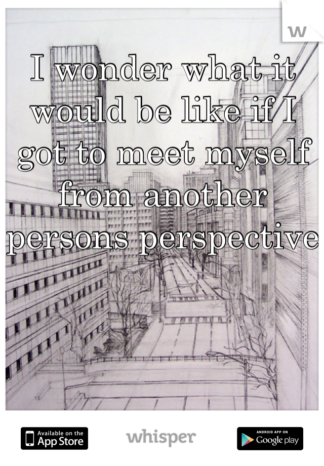 I wonder what it would be like if I got to meet myself from another persons perspective