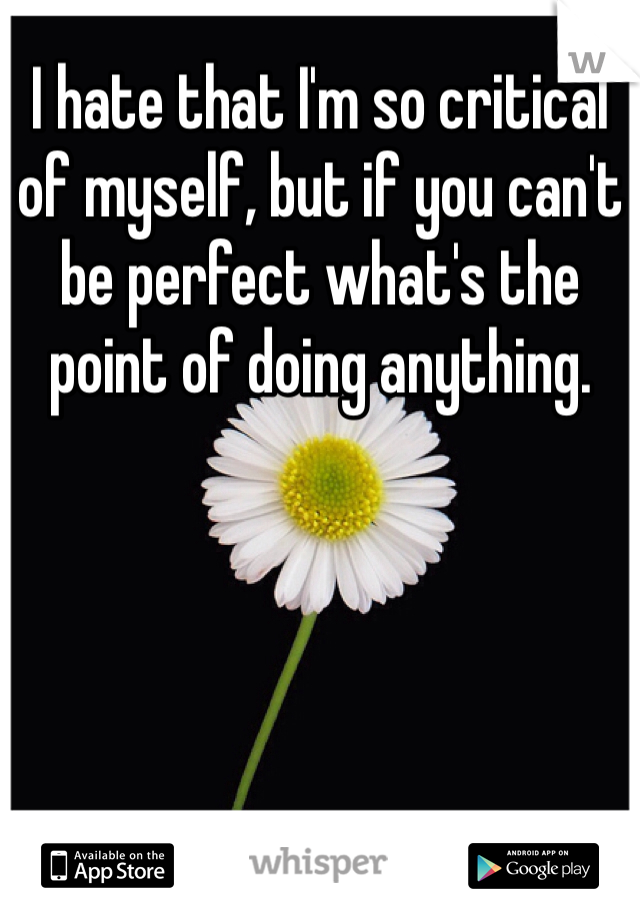 I hate that I'm so critical of myself, but if you can't be perfect what's the point of doing anything.