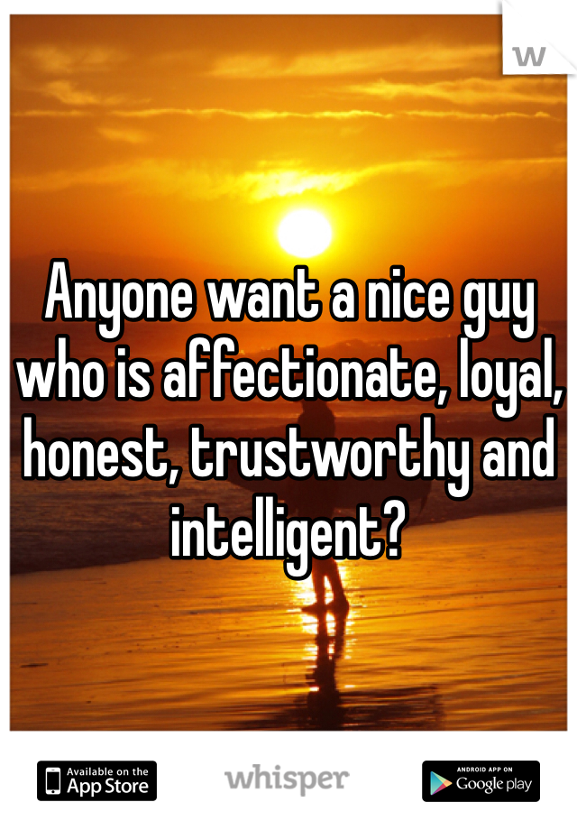 Anyone want a nice guy who is affectionate, loyal, honest, trustworthy and intelligent?