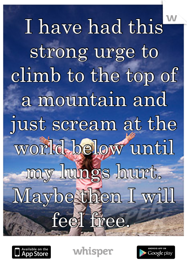 I have had this strong urge to climb to the top of a mountain and just scream at the world below until my lungs hurt. Maybe then I will feel free.