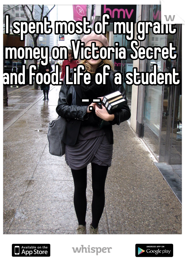 I spent most of my grant money on Victoria Secret and food. Life of a student -.-