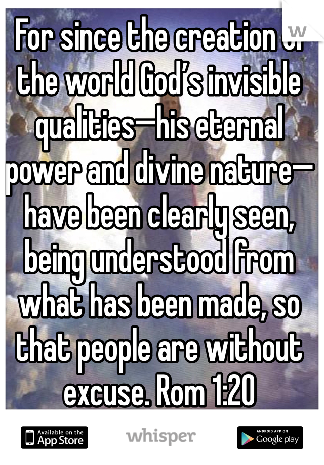 For since the creation of the world God's invisible qualities—his eternal power and divine nature—have been clearly seen, being understood from what has been made, so that people are without excuse. Rom 1:20