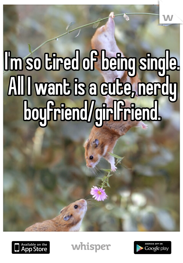 I'm so tired of being single. All I want is a cute, nerdy boyfriend/girlfriend.