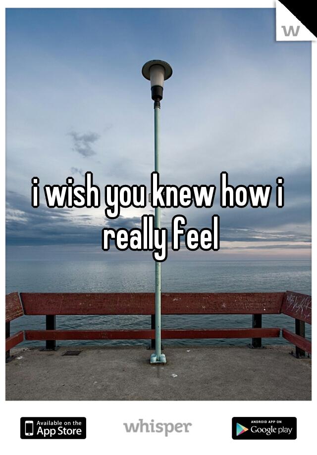 i wish you knew how i really feel