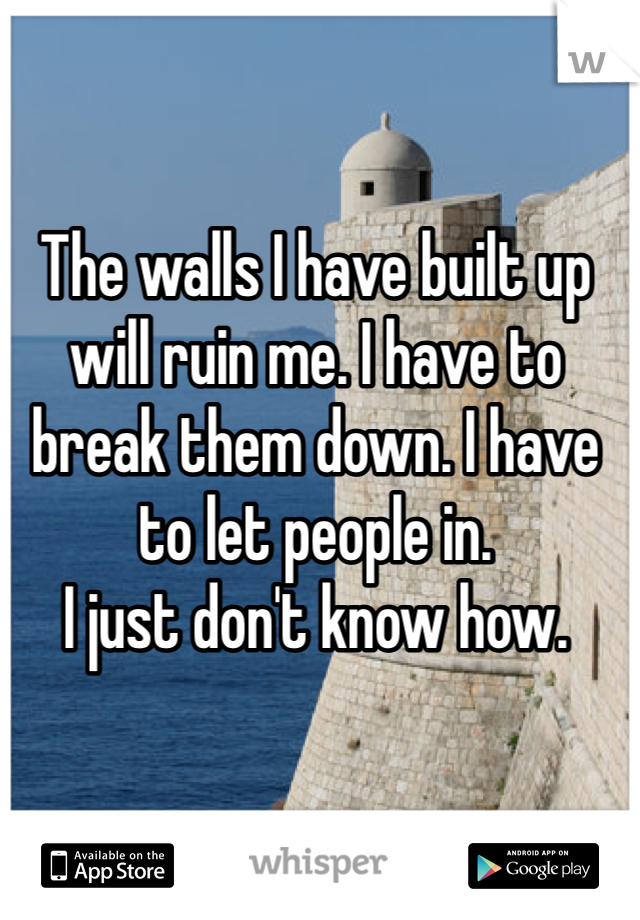 The walls I have built up will ruin me. I have to break them down. I have to let people in.  I just don't know how.