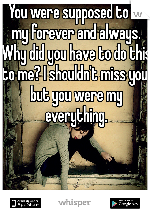 You were supposed to be my forever and always. Why did you have to do this to me? I shouldn't miss you, but you were my everything.