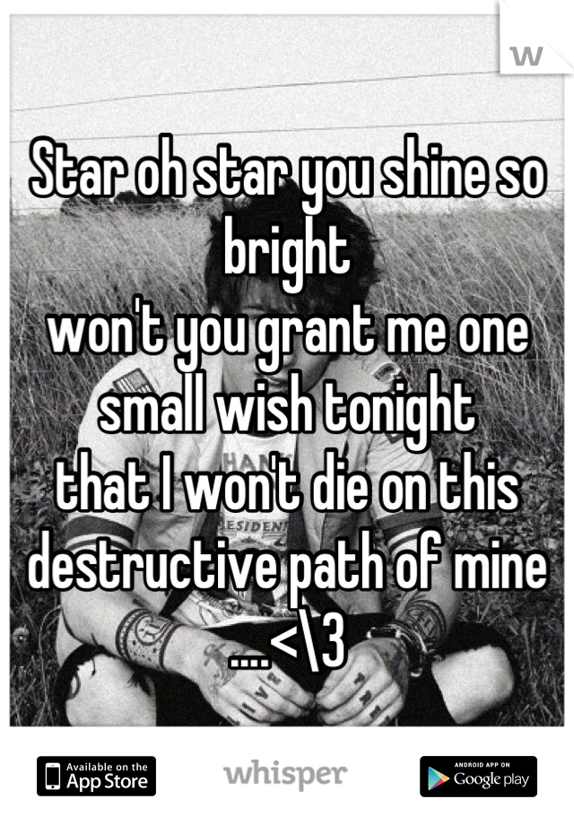Star oh star you shine so bright  won't you grant me one small wish tonight  that I won't die on this destructive path of mine  ....<\3