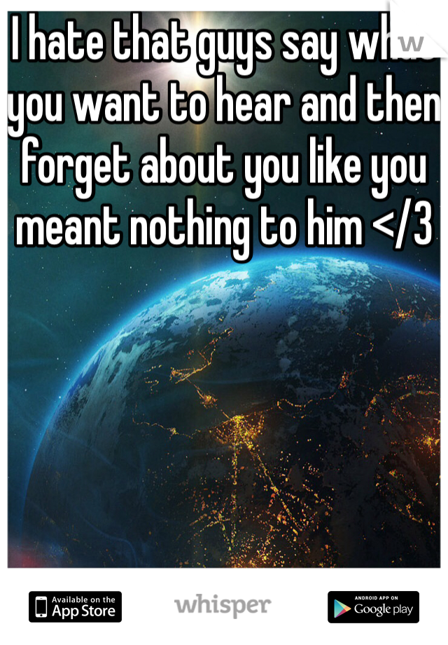 I hate that guys say what you want to hear and then forget about you like you meant nothing to him </3