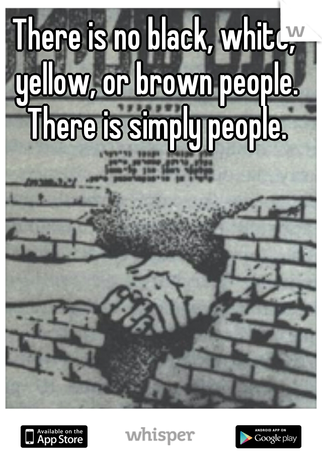 There is no black, white, yellow, or brown people. There is simply people.