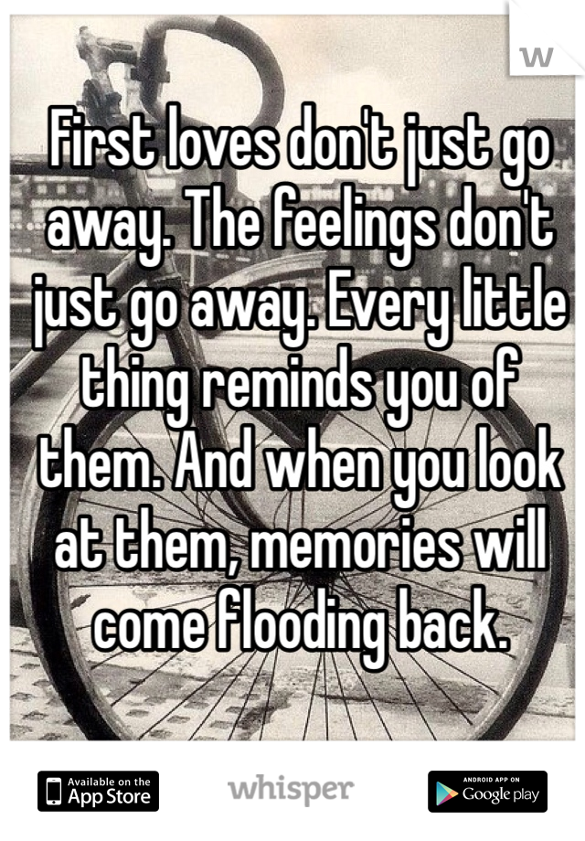 First loves don't just go away. The feelings don't just go away. Every little thing reminds you of them. And when you look at them, memories will come flooding back.