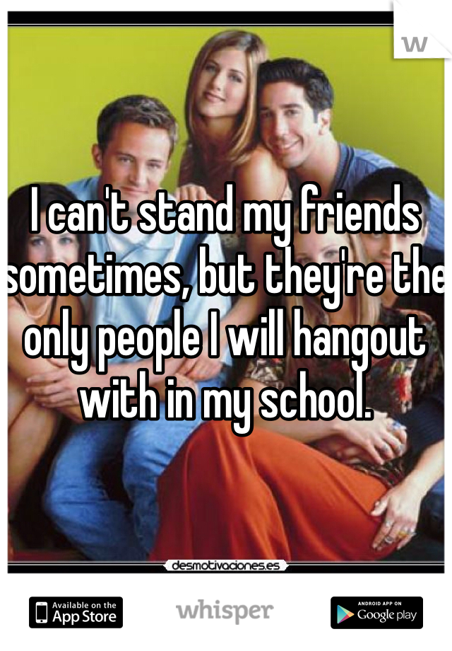I can't stand my friends sometimes, but they're the only people I will hangout with in my school.