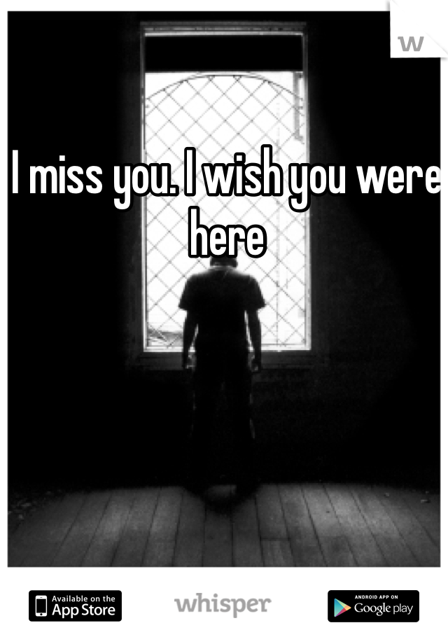 I miss you. I wish you were here