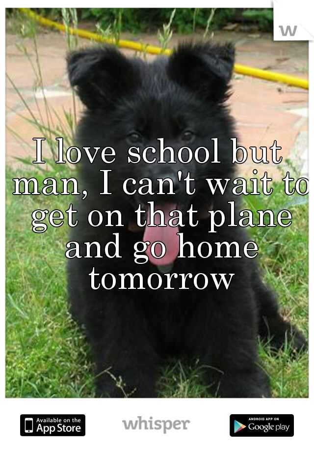 I love school but man, I can't wait to get on that plane and go home tomorrow