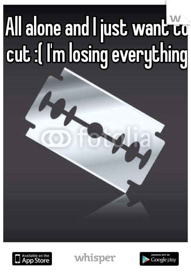 All alone and I just want to cut :( I'm losing everything