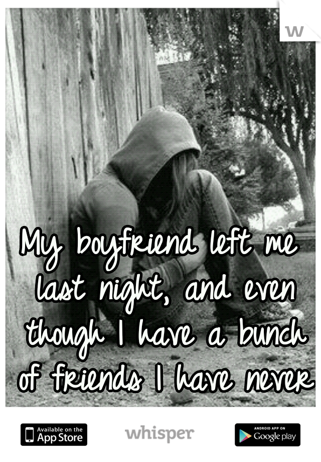 My boyfriend left me last night, and even though I have a bunch of friends I have never felt so alone in my life.