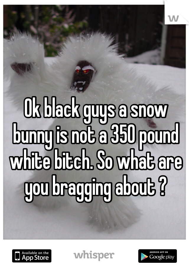 Ok black guys a snow bunny is not a 350 pound white bitch. So what are you bragging about ?