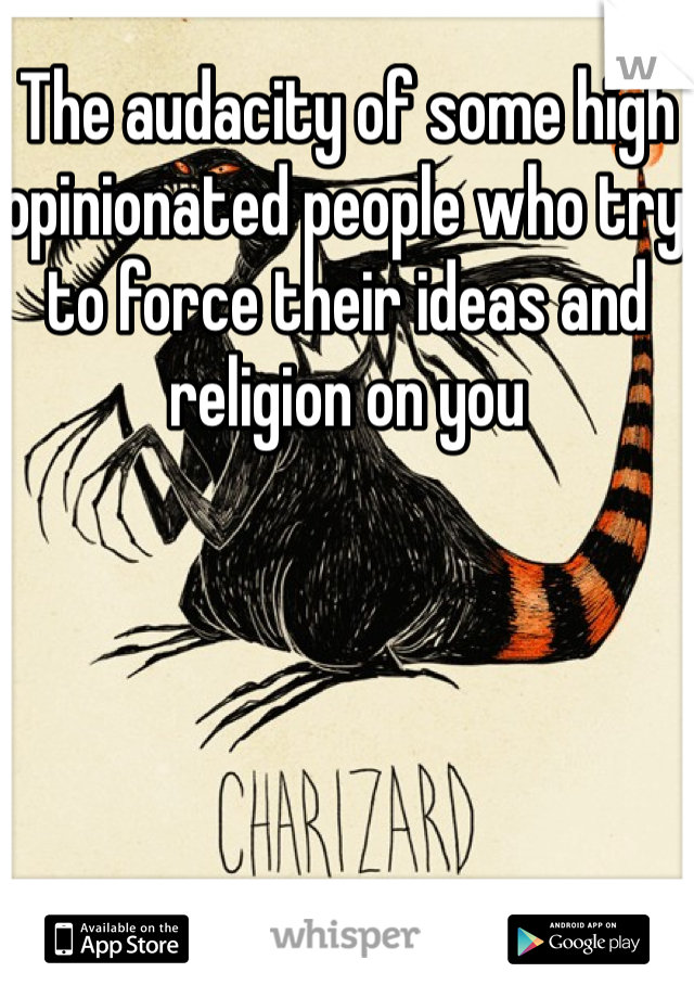 The audacity of some high opinionated people who try to force their ideas and religion on you