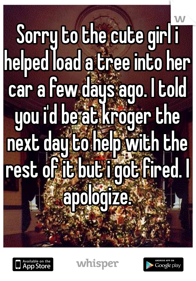 Sorry to the cute girl i helped load a tree into her car a few days ago. I told you i'd be at kroger the next day to help with the rest of it but i got fired. I apologize.