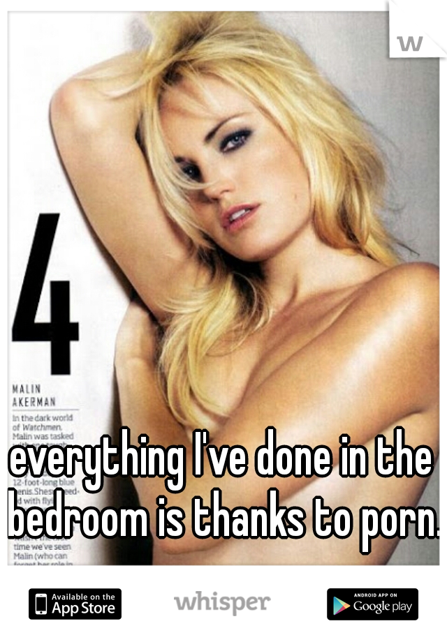 everything I've done in the bedroom is thanks to porn..