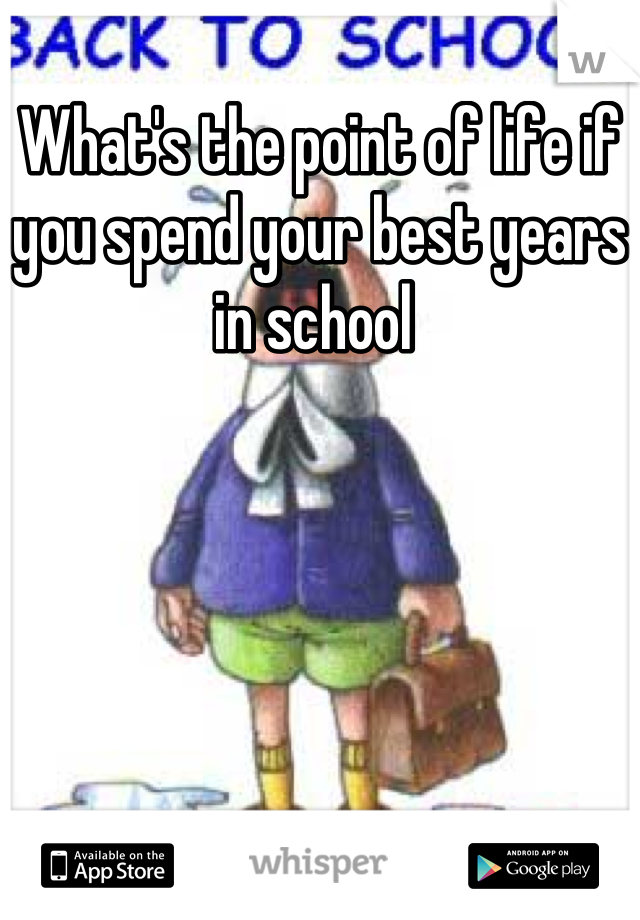 What's the point of life if you spend your best years in school