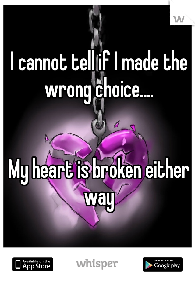 I cannot tell if I made the wrong choice....    My heart is broken either way