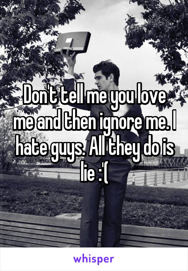 Don't tell me you love me and then ignore me. I hate guys. All they do is lie :'(