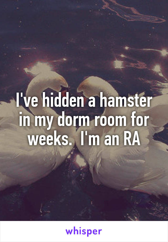 I've hidden a hamster in my dorm room for weeks.  I'm an RA