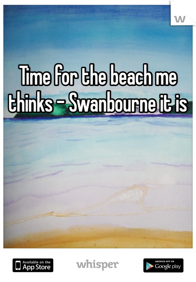 Time for the beach me thinks - Swanbourne it is