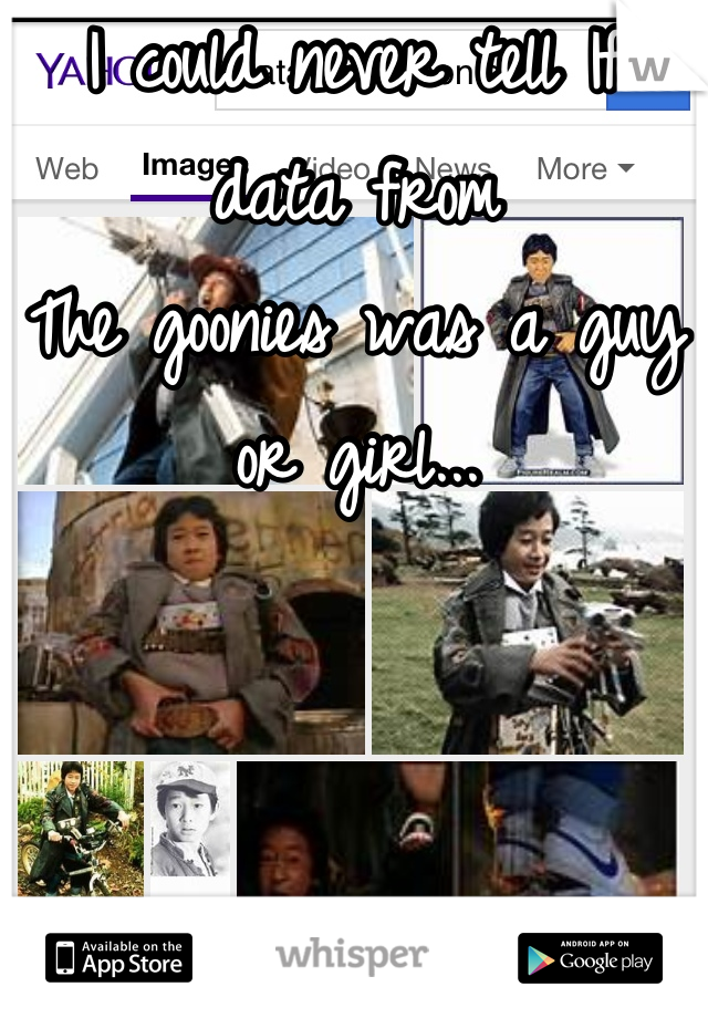 I could never tell If data from The goonies was a guy or girl...
